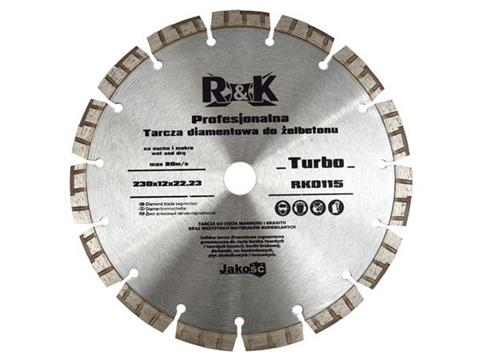 Diamantový kotouč 230x12x22,23mm, Turbo Profi R&K, RK0115